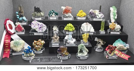 TUCSON, ARIZONA, FEBRUARY 12. The Tucson Convention Center on February 12, 2017, in Tucson, Arizona. A Countiss Family Mineral Collection at the Tucson Gem and Mineral Show in Tucson, Arizona.