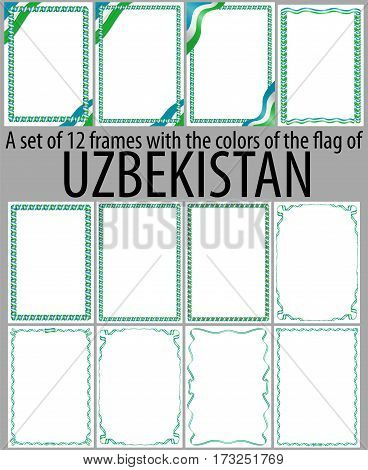 Set of 12 frames with the colors of the flag of Uzbekistan