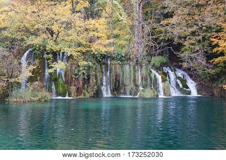Waterfall of Plitvice national park in Croatia