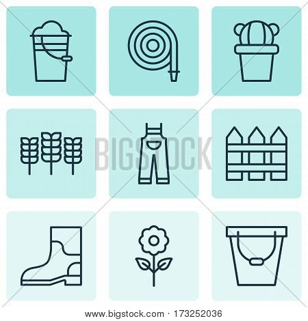 Set Of 9 Holticulture Icons. Includes Rubber Boot, Pail, Bucket And Other Symbols. Beautiful Design Elements.