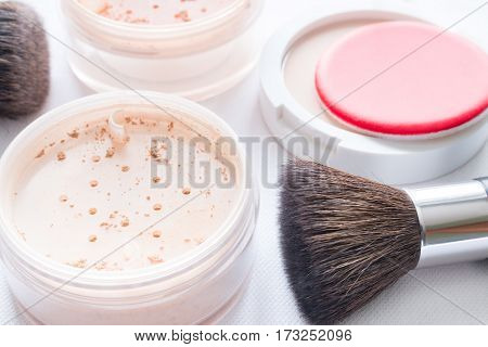 cosmetics makeup close up on white background