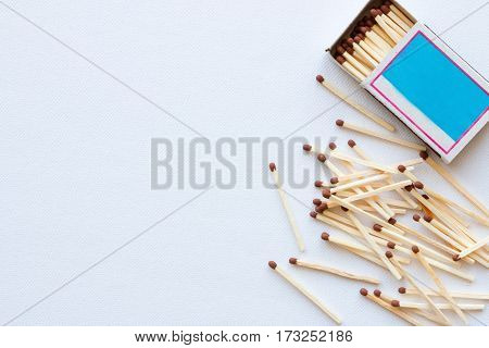 Matchbox And The Match On A White Background With Space For Text