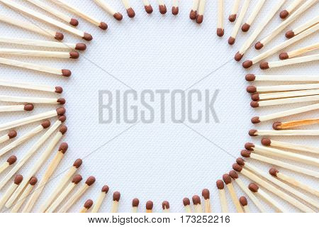 Frame In The Shape Of A Circle From Matches Mockup