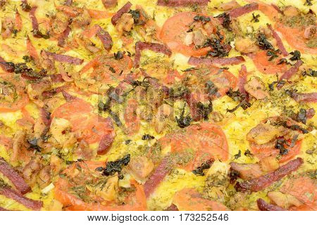 Background of the finished hot pizza. Baked pie with meat
