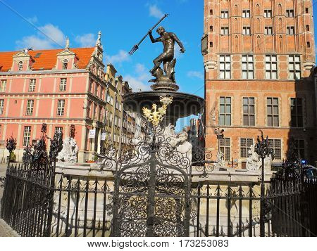 Gdansk Poland - 8 May 2015: Neptune's Fountain on an area of Long Market.