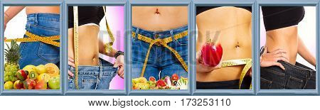 collage of diet concept: a slim girl measuring her weight