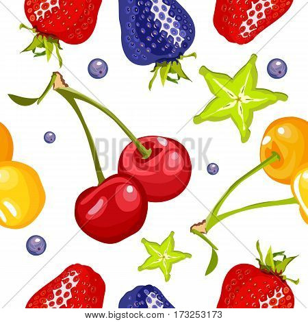 berry seamless square pattern on a white background with ripe cherries cherry carom strawberries