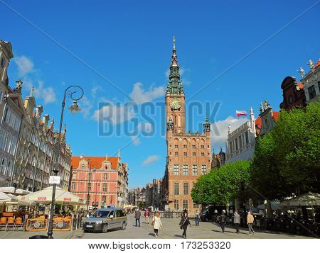 Gdansk Poland - 8 May 2015: Long market street and Gdansk Main Town Hall.