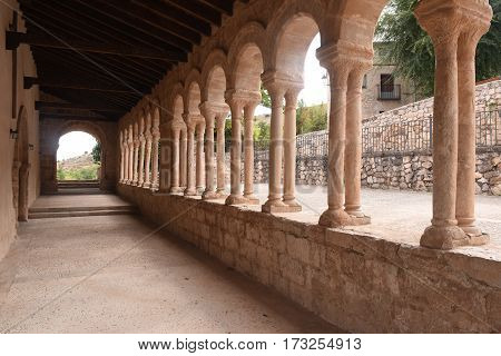 covered and Romanesque columns in the church of San Salvador of Carabias Siguenza Guadalajara province Spain