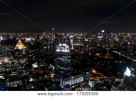 Bangkok Thailand 03.10.2015 view of the Skyline at night with lights
