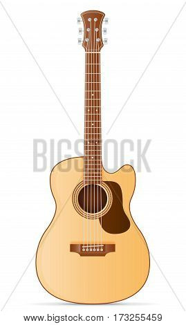 acoustic guitar stock vector illustration isolated on white background