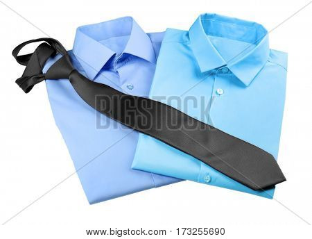 New man shirts with tie on white background