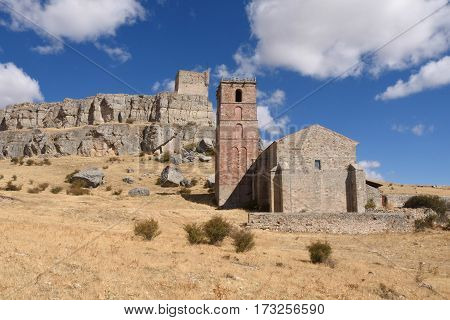 Santa Maria del Mar and Castle (Route of Cid and Don Quixote) AtienzaGuadalajara province Castilla La Mancha Spain.