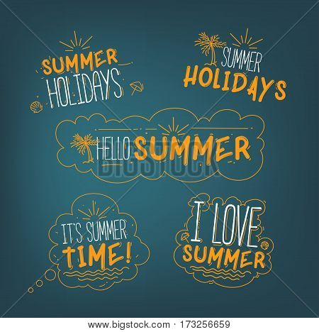 Vector Summer Badges Collection With Signs I Love Summer. Summer Holidays. Hello Summer. Its Summer Time