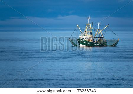 Shrimp boat on the North Sea Germany.
