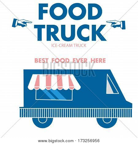 Delivery Food truck poster with blue and pink color