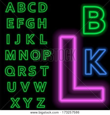 Luminous neon alphabet Vector font. The color of light is easily changed. Neon letters on a dark blue background isolated. Latin characters.