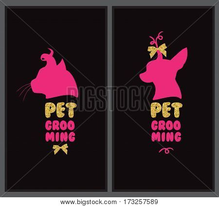 Logo for pet hair salon with animal silhouette, gold bows and gold letters.
