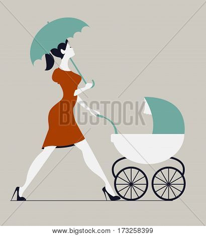 Young woman walking with stroller under rain. Woman walking with baby carriage. Vector silhouette