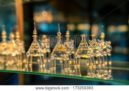 Bottles for perfume in vintage magic style. Egypt