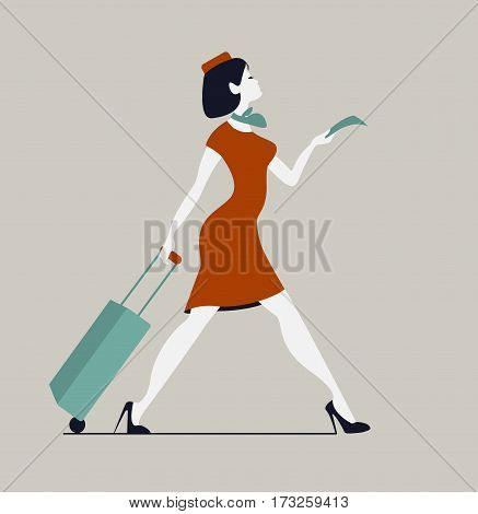 Stewardess with luggage. Woman with baggage and ticket.