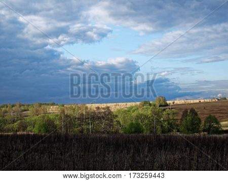 spring rural landscape, an abandoned field, Tula oblast, Russia