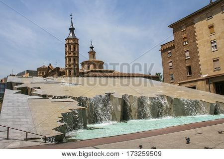 Fountain-waterfall Hispanidad in the Spanish city of Zaragoza was founded in 1991 in honor of the great geographical event of the 500 anniversary of the discovery of America. Zaragoza in Spain. May 2006.