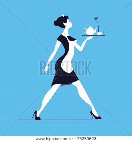 Waitress on blue background. Slender woman carrying tray with tea
