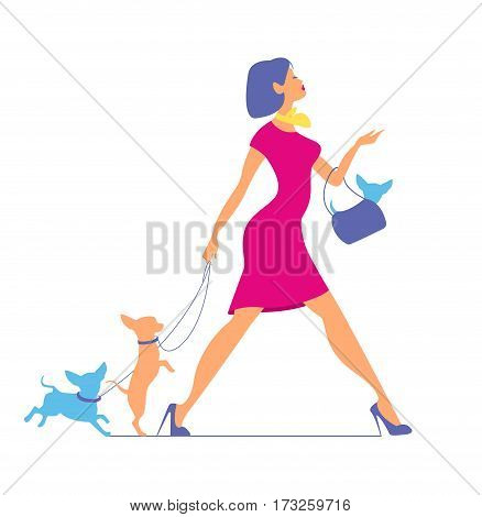 Young fashionable woman in pink dress is walking with dogs.
