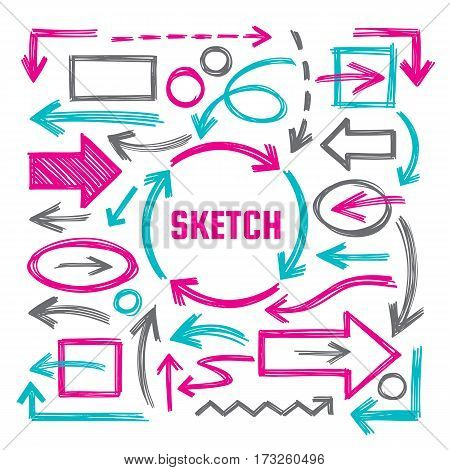 Hand draw sketch vector illustrations - creative sign set. Arrows, rectangles and ovals marker design elements. Abstract shapes collection for business presentation.