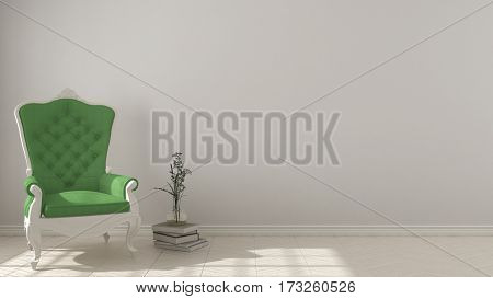 Classic living background with white and green vintage armchair on herringbone natural parquet flooring interior design, 3d illustration