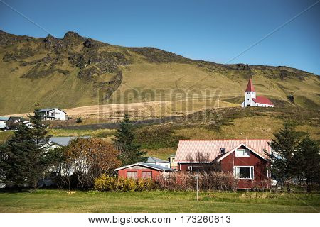 Vik little town near the black beach in Southern Iceland
