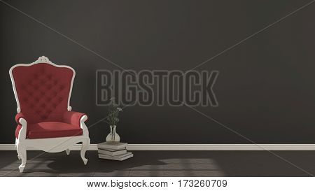Classic dark living background with white and red vintage armchair on herringbone natural parquet flooring interior design, 3d illustration