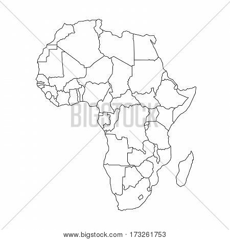 Map of Arfica continent. Simple black wireframe outline with national borders on white background. Vector illustration.