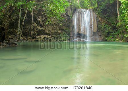 Waterfall in forest at Erawan waterfall National Park Kanchanaburi Thailand
