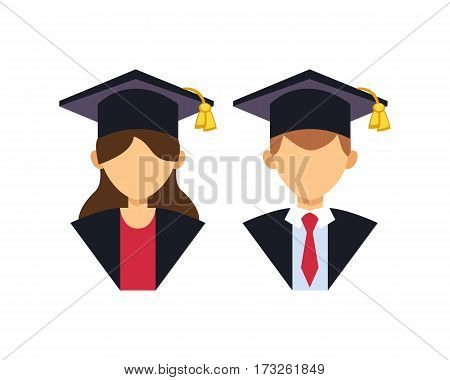 Graduation man and woman silhouette uniform avatar vector illustration. Student education college success character with hat gown flat achievement.