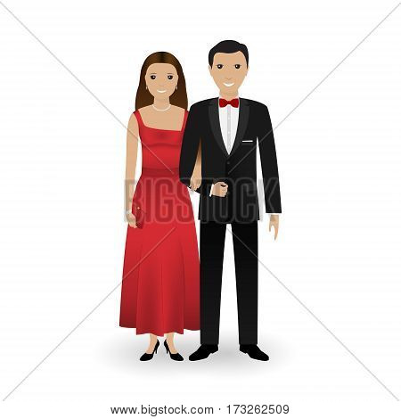 Male and female couple in elegant clothes for official social events. Black tie dress code. Cocktail evening. Vector illustration.