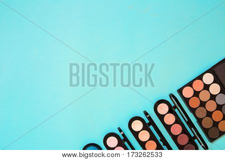 Top view of Make Up set. Cosmetics. Still life. Copy space