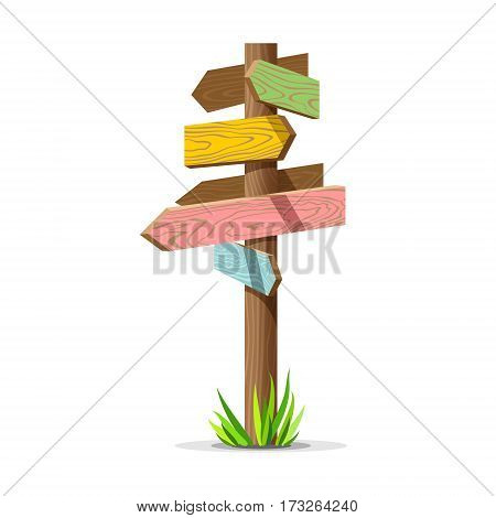 Colored wooden arrow empty vector signboard. Wood sign post concept with grass. Board pointer illustration isolated on a white background
