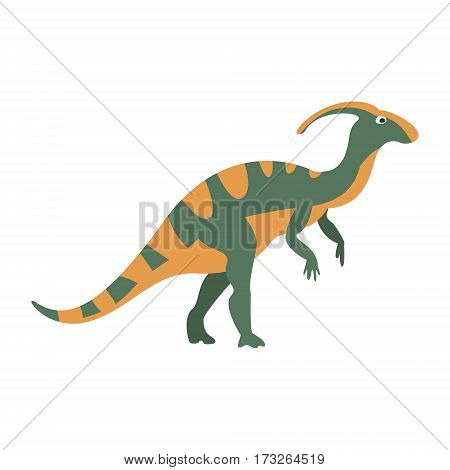 Parasaurolophus Dinosaur Of Jurassic Period, Prehistoric Extinct Giant Reptile Cartoon Realistic Animal. Simplified Dinosaur Species Vector Illustration With Recognizable Details Of Ancient Fauna.