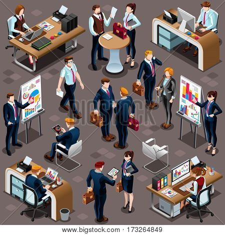 Trendy 3D isometric group of isolated bank business people. Employee desk staff character icon set. Interview and Analysis of sales deal agreement and partnership. Teamwork career vector illustration