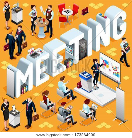 Meeting Group of Diverse Isometric Business People. 3D meeting infograph crowd with standing walking casual people icon set. Conference handshake lot collection vector illustration