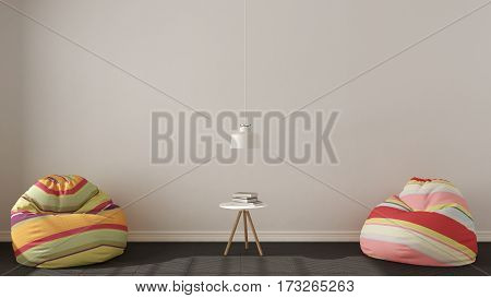 Scandinavian Minimalistic Living Background, With Colorful Armchair Bean Bags On Herringbone Natural