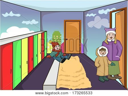 Lockers for clothes. Dressing in kindergarden. Parents, children.