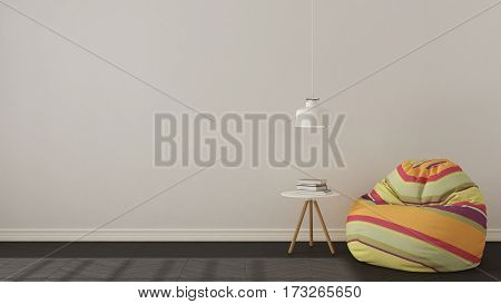 Scandinavian Minimalistic Living Background, With Colorful Armchair Bean Bag On Herringbone Natural