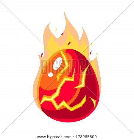 Red Fire Egg In Flames, Fantastic Natural Element Egg-Shaped Bright Color Vector Icon. Video Game Template Item For Magic Flash Game Design Constructor Isolated Cartoon Object.