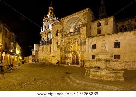 Night at the Cathedral El Burgo de Osma Soria province Castilla-Leon Spain