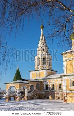 Bell Tower of the Church of St John the Baptist in Uglich in winter, Russia