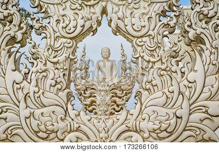 Beautiful White buddha statue, Wat Rong Khun,Thailand