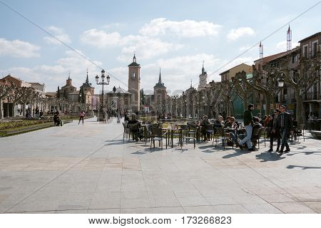 People Having An Aperitif On The Terrace Of A Bar In Cervantes Square